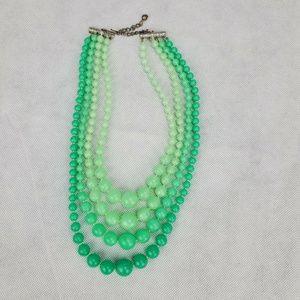 Vtg 1950s Multi 4 Strand Lime Green Mint Plastic B